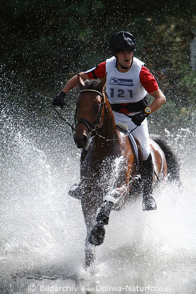 Horserider in watersquirts equestrian watercross photo action art image horse open-country riding